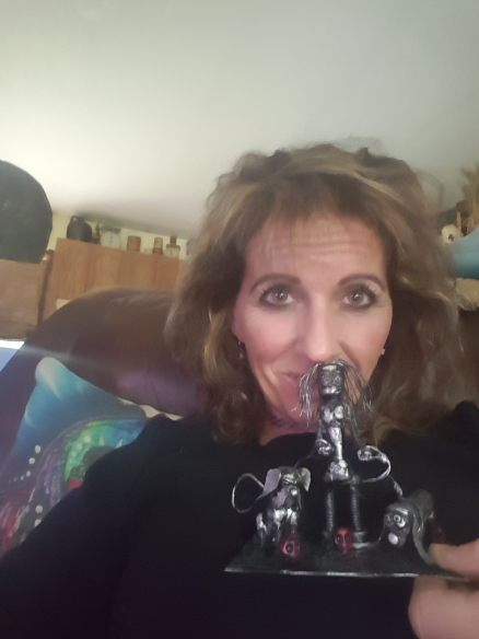 Happy customer with her dog walker bot!