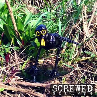 Upcycled Robot Blackbird Sculpt